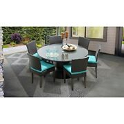Belle 60 Inch Outdoor Patio Dining Table With 6 Armless