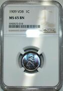 1909-p Lincoln Wheat Penny Vdb Ngc Ms65 Bn Stunning Blue And Purple Toned
