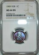 1909-p Lincoln Wheat Penny Vdb Ngc Ms66 Bn Beautiful Dual Toned