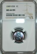 1909-p Lincoln Wheat Penny Vdb Ngc Ms66 Bn Lovely Magenta Toned