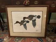 Large Original Be Forbes Duck Painting Green Winged Teal Ducks Game Wildlife
