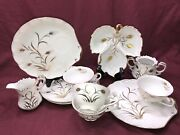 Lefton China Vintage Snack Plate Hand Painted Gold Guild Wheat Designs 8.set