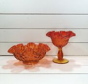 Two Vintage Midcentury Fenton Red Thumbprint Ruffled Compote Candy Nut Dishes.