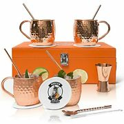 Vero Crest Copper Moscow Mule Cups Set Of 4 - Handcrafted Moscow Mule Copper Mug