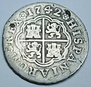 1742 Spanish Silver 1 Reales Antique 1700's Colonial Cross Pirate Treasure Coin