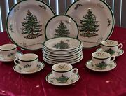 Spode Christmas Tree Luncheon Plates Coffee Cups And Saucer Pasta Veg/ Bowl Set