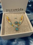 New Pura Vida Dreaming Outloud Set Seed Bead Necklace Sun Ring Size 7 Ear Cuff