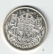 Canada 1946 50 Cents Half Dollar King George Vi Canadian .800 Silver Coin