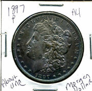 1897 P Au Morgan Dollar 100 Cent About Uncirculated 90 Silver Us 1 Coin 1142