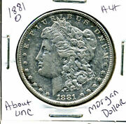 1881 O Au Morgan Dollar 100 Cent About Uncirculated 90 Silver Us 1 Coin 1206
