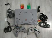Sony Playstation System Scph-5501 Ps1 Console 2 Controllers Set Lot Memory Cards