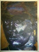 Oil Original Woman's Face Portrait With Bold Brushes Style Painting And Signed.