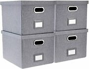 Highfree Collapsible File Storage Box With Lid - Decorative 4-pack, gray