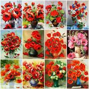 5d Diamond Painting Poppy Flower Embroidery Reflection Kit Mosaic Bedroom Decors