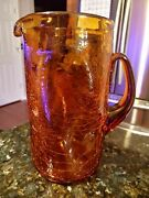 Vintage Beautiful Amber Crackle Glass Pitcher Brown Retro Neat Heavy Euc