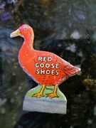 Red Goose Shoes Vtg Store Display Cardboard Sign On Wood Base 2.5 Tall Saxony