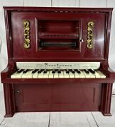 Piano Lodeon, J. Chein And Co. Vintage Mini Automatic Players Piano. No Scrolls