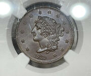 1839 Booby Head Large Cent Ngc And Cac Ms64bn