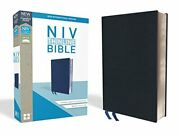 Niv Thinline Bible Bonded Leather Navy Indexed Red Letter By Zondervan