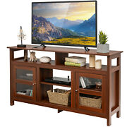 Costway 58 Tv Stand Entertainment Console Center W/ 2 Cabinets Up To 65 Walnut