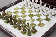 24 Inch Handmade White And Green Marble Chess Board Classic Strategy Game Set