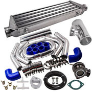 2.5 In/outlet Aluminum Universal Turbo Intercooler And Piping Hose Tube And Bov Kit