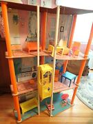 Vintage Mattel Barbie 3-story Townhouse Elevator 1973 With Some Furniture