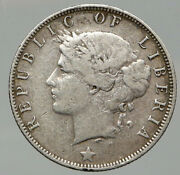 1906 H Liberia African Liberty Woman Vintage Antique Silver 25 Cents Coin I92614