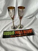 Silverplate Champagne Flutes, French Chippendale By Reed And Barton