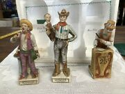 Set Of 3 Lionstone Miniature Circus Decanters Fire Eater Empty