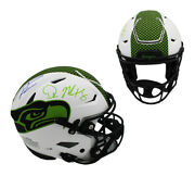 Wilson And Metcalf Signed Seattle Seahawks Speed Flex Authentic Lunar Nfl Helmet