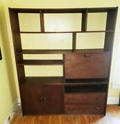 Mid-century Walnut Bookcase And Desk/bureau With 9 Shelves 2 Drawers 1 Cabinet