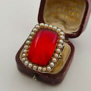 Stunning Georgian 9ct Yellow Gold Cherry Amber And Seed Pearl Ring