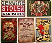 Five 8x12 Tin Signs Harley Davidson Funny Stolen Skull Weed Man Cave Rules Rehab