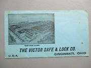 Early 1900and039s Graphic Victor Desk Safe And Lock Mfg. Cincinnatiohio Cover