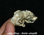 China Rare Old Silver Carving 12 Zodiac Dragon Dragons Jewellery Finger Ring