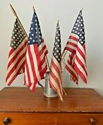Antique Early American Flags Lot- 5 Flags 4 W/ 48 Stars Free Shipping