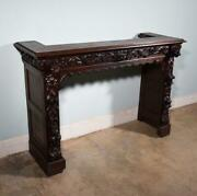 Antique French Solid Oak Fireplace Surround/mantel Highly Carved With Lions
