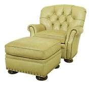 52784ec Sherrill Tufted Leather Club Chair And Ottoman