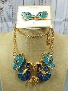 Vintage Signed Vendome Costume Jewelry Enameled Dragon Necklace And Earrings Screw