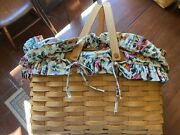 Longaberger Woven Picnic Basket W Cover And Liners 2001