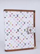 Louis Vuitton Multicolor Blanc White Large Ring Gm Agenda Cover Journal Planner