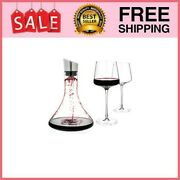 - Wine Decanter 20.5-ounce And Aerator Pourer Lid - With Two Crystal Glasses