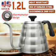 Us 1.2l Stainless Steel Drip Tea Coffee Kettle Gooseneck Spout Pour Over Water