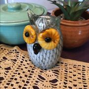 Vintage Ornate Art Glass Paperweight Owl Murano