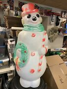 Vintage Empire Lighted Christmas Snowman Wreath/candy Cane Blow Mold 46andrdquo W Cord