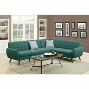 Polyfiber 2 Pieces Sectional With Tufted Back And Cushion Blue Americana