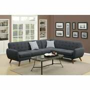 Polyfiber 2 Pieces Sectional With Tufted Back And Cushion Grey Americana