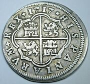 1717 Spanish Silver 2 Reales Antique 1700s Colonial Cross Pirate Treasure Coin