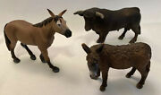 Schleich And Safari Bull, Donkey And Mule Set Of 3 Vinyl Figurines, 3-1/4 To 4t